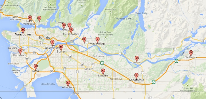 Map Of Lower Mainland Bc MAP: Mayors elected or re elected in B.C.'s Lower Mainland – Peace  Map Of Lower Mainland Bc